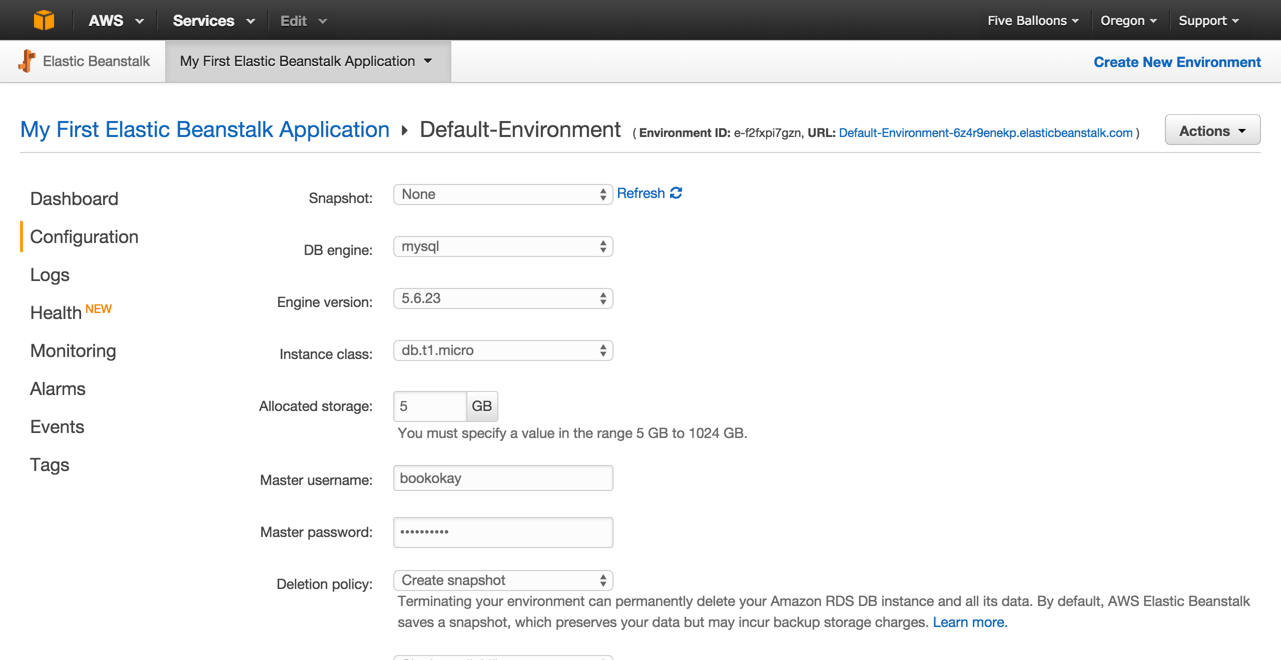 adding rds mysql instance to beanstalk application and