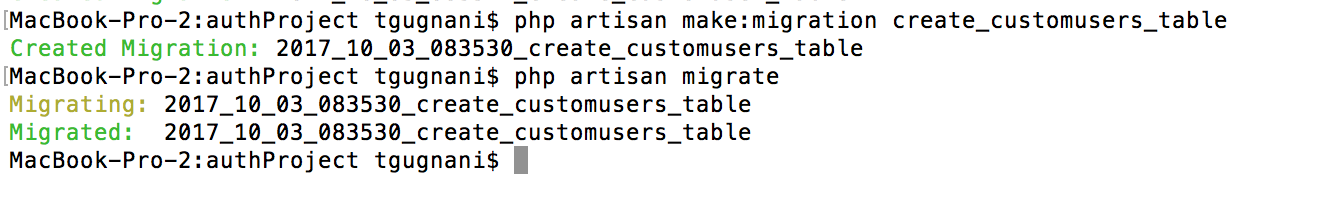 php artisan migrate customuser table