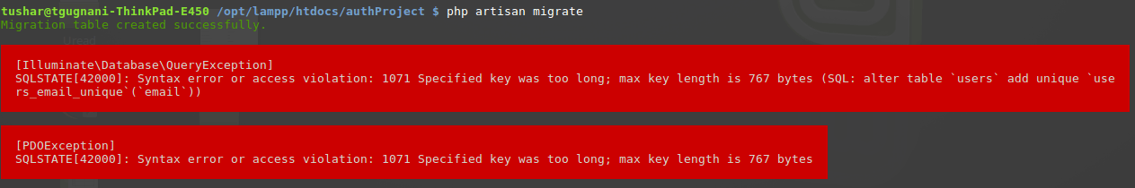 Resolve Laravel 5 5 Exception : 1071 Specified Key was too