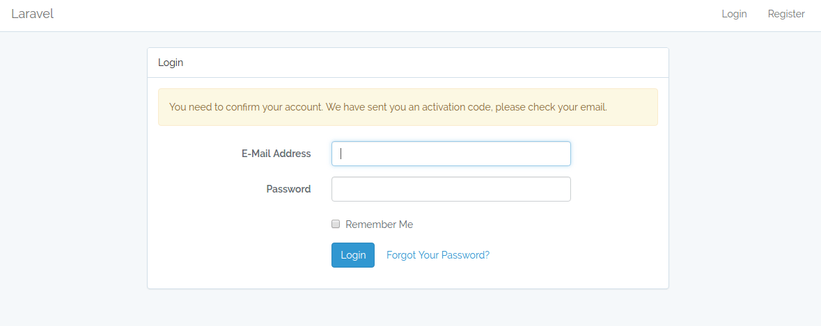 User email verification and account activation in Laravel