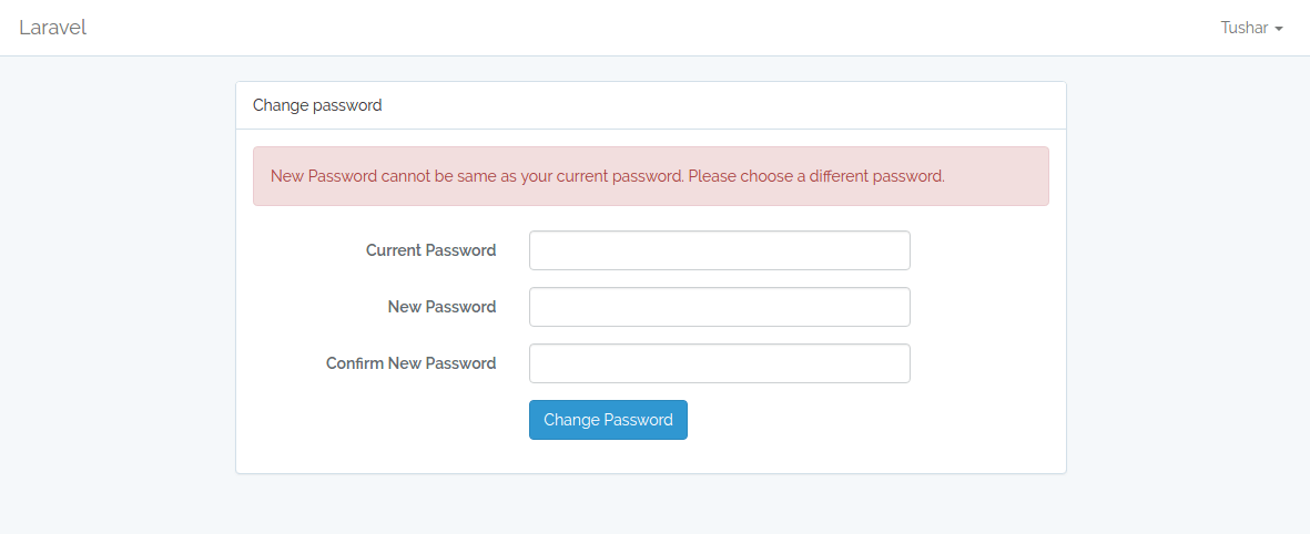 Current and new password should not be same