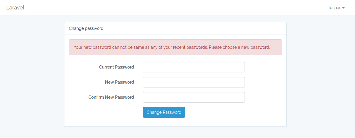 Password History Laravel Error