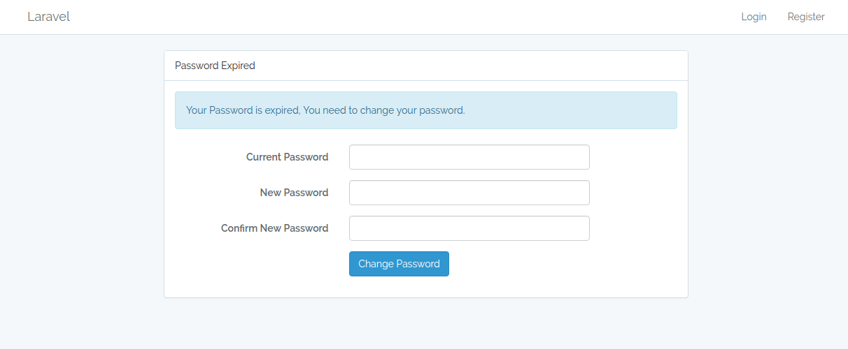Password Expired Screen Laravel