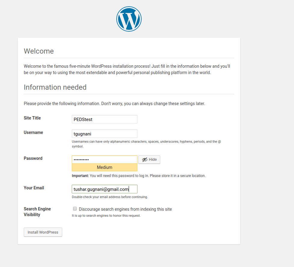 Wordpress-welcome-site-details