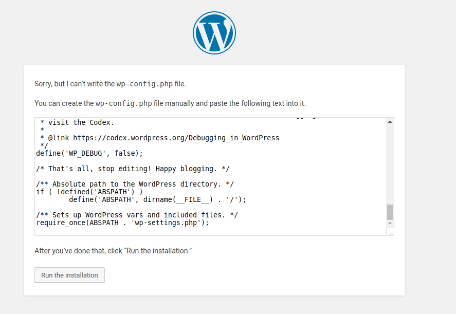 Wp create wp-config.php file