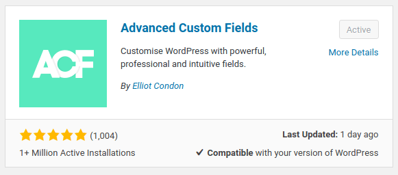 advanced custom field plugin wordpress