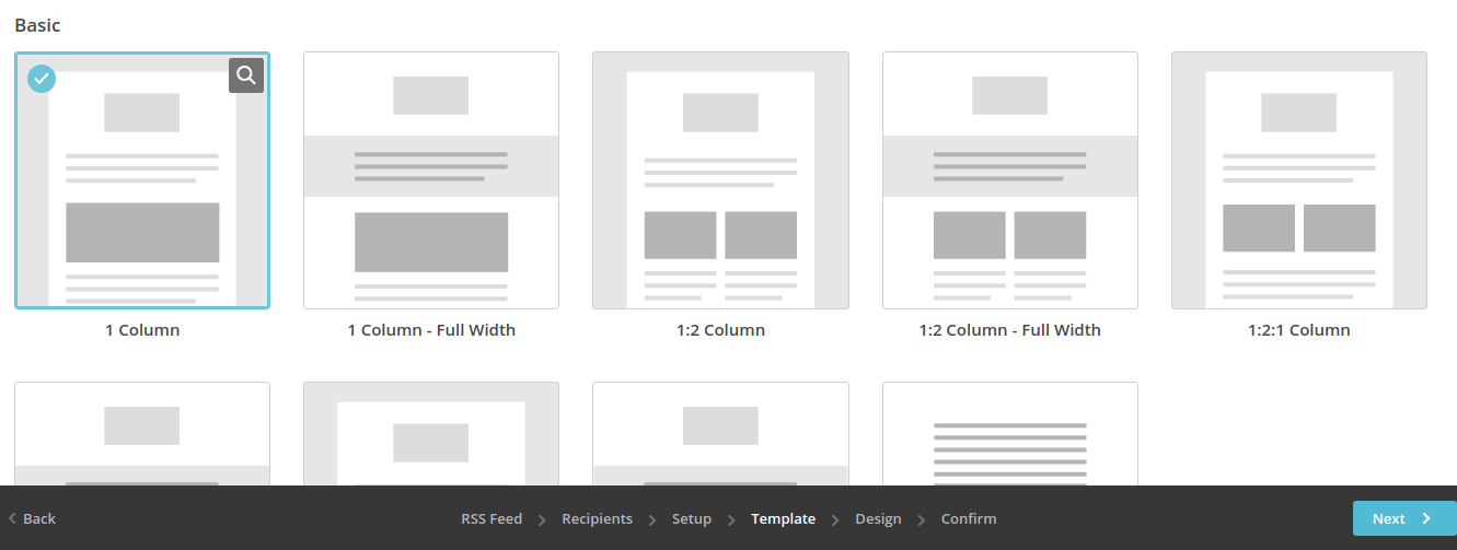 Basic 1 column template mailchimp