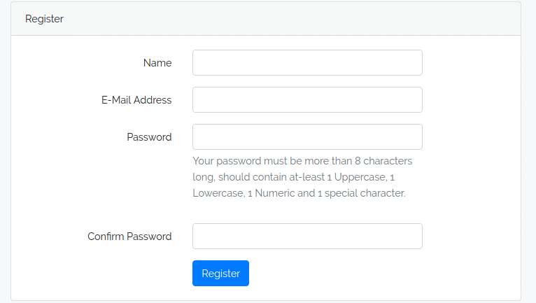 Strong Password Regex Validation with Laravel Authentication