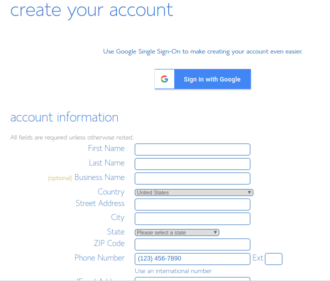 account information bluehost