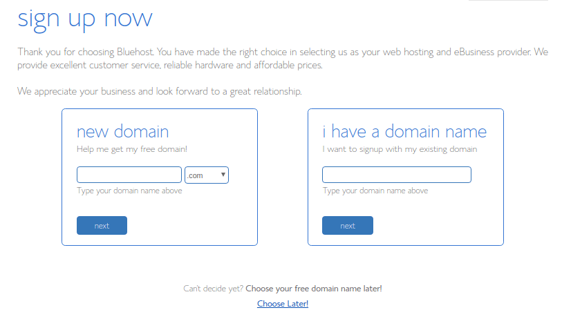 domain signup bluehost