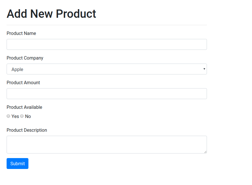 Add New Product Page Laravel