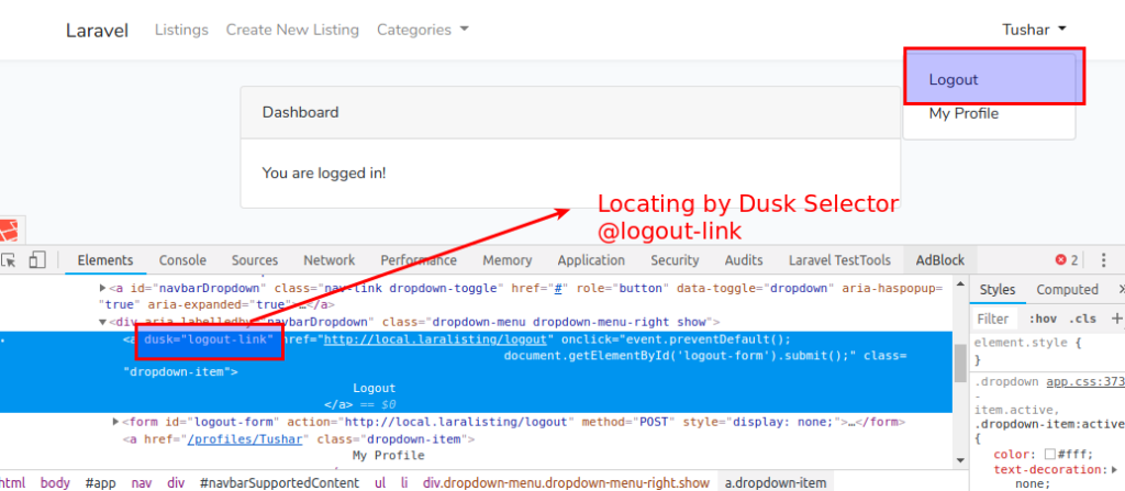 locating by dusk selector laravel