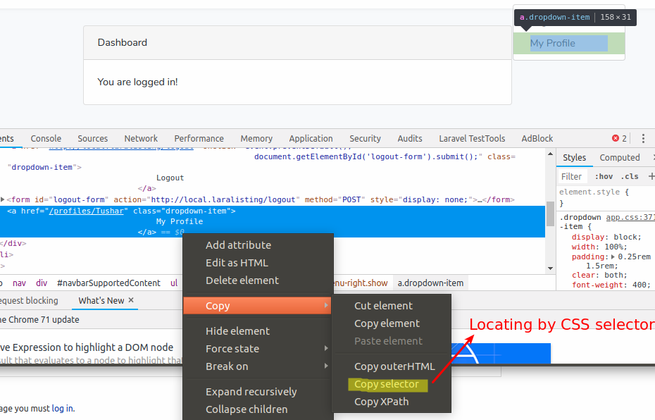 locating by css selector in laravel dusk