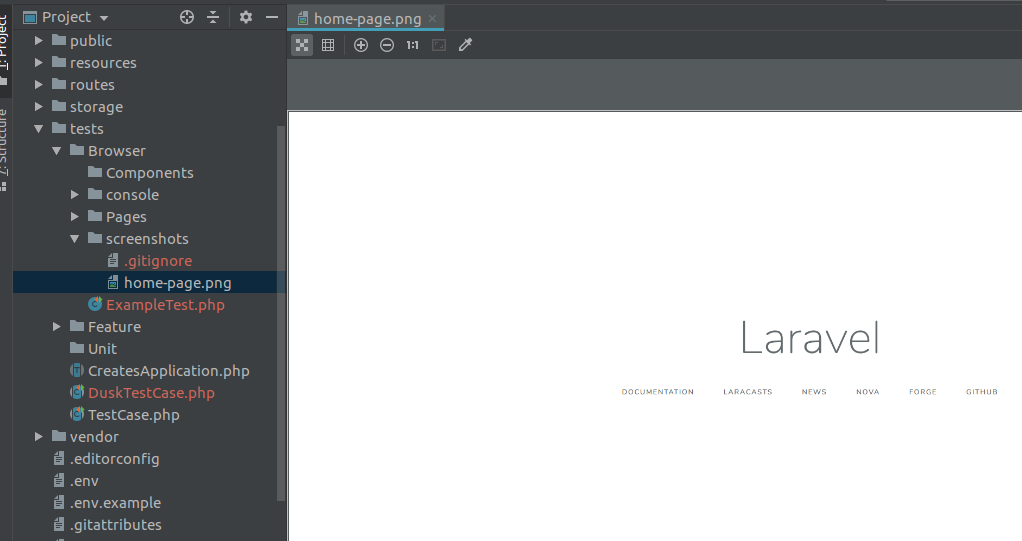 laravel-dusk-screenshot