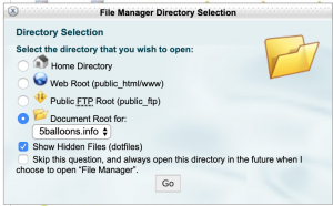 cPanel File Manager Document Root option