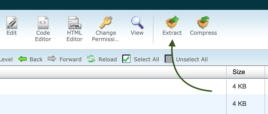 Extract option File Manager siteGround