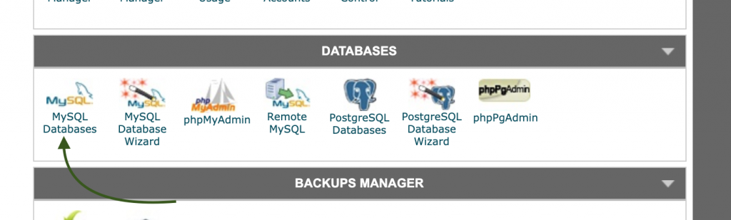 databases section cpanel siteground