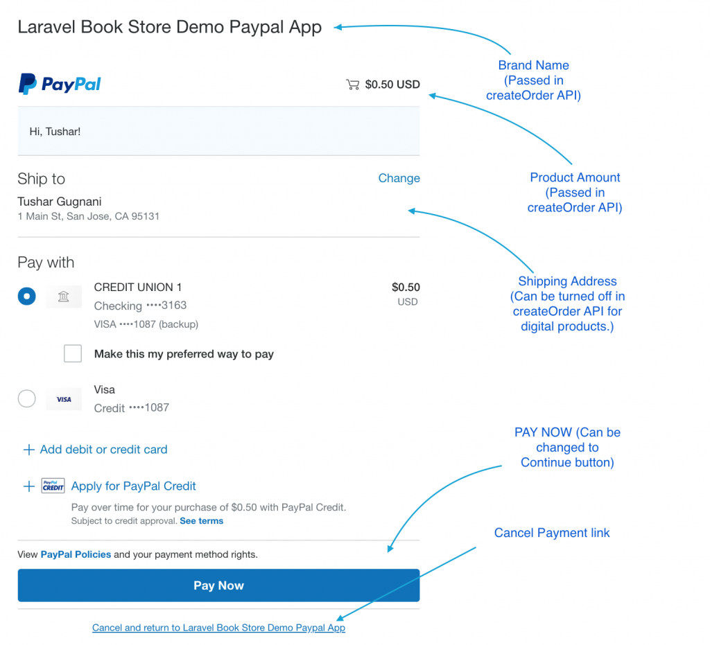 paypal smart button payment page.
