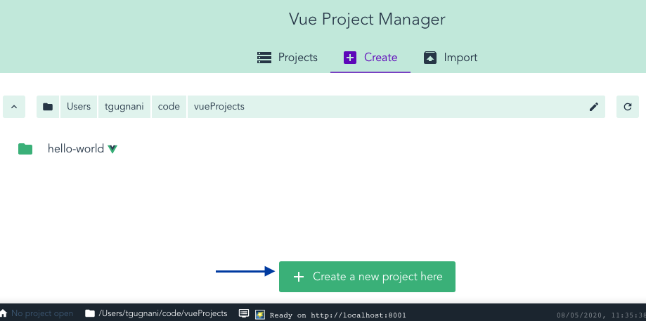create a new project using vue ui