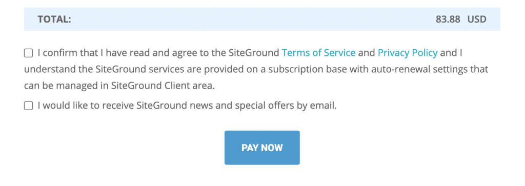 siteground confirm terms and conditions