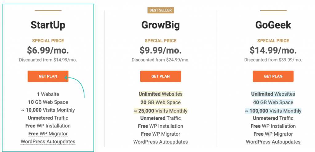 SiteGround choose plan for hosting