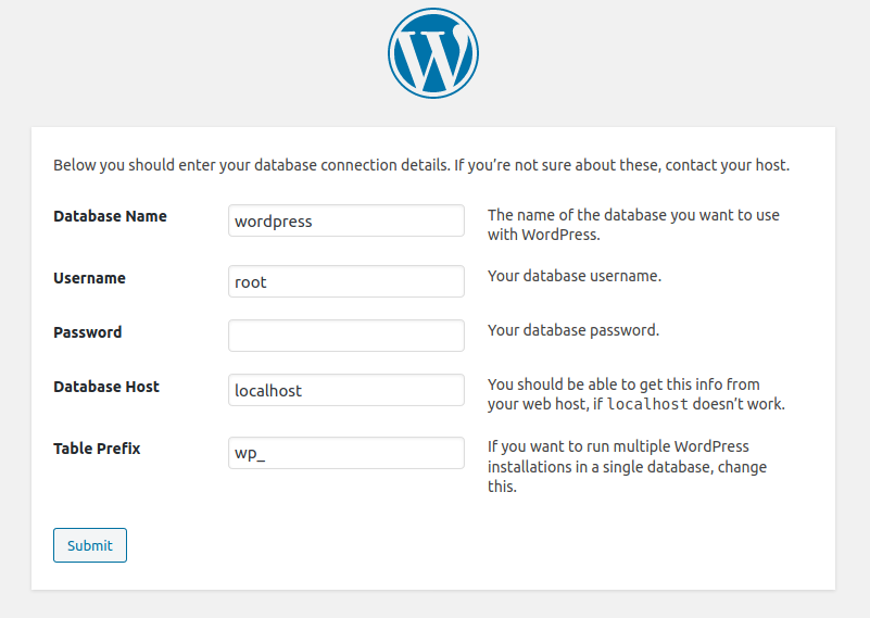 wordpress installation database setup