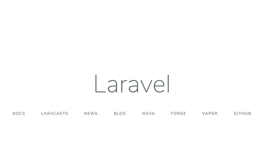 Laravel new installation home page